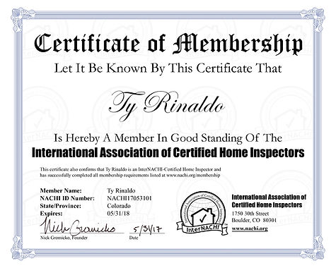 Certification for home inspector