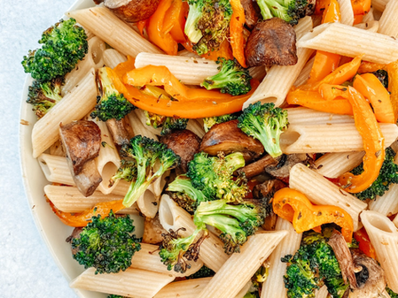Penne with Roasted Broccoli, Bell Peppers, and Mushrooms