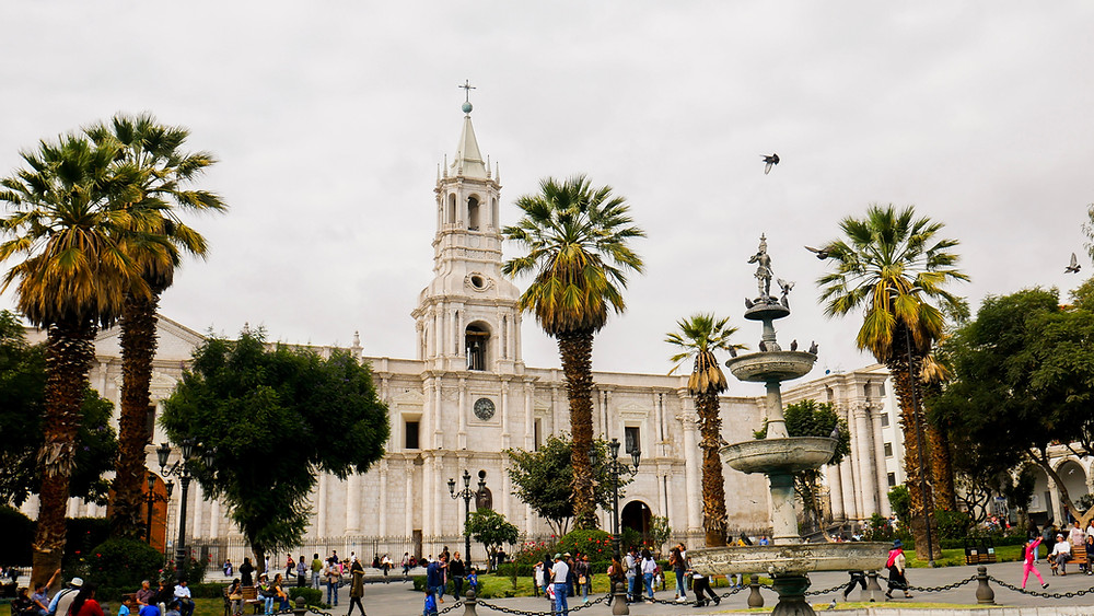 Afternoon in the central place of Arequipa, Peru. People are hanging on this place.