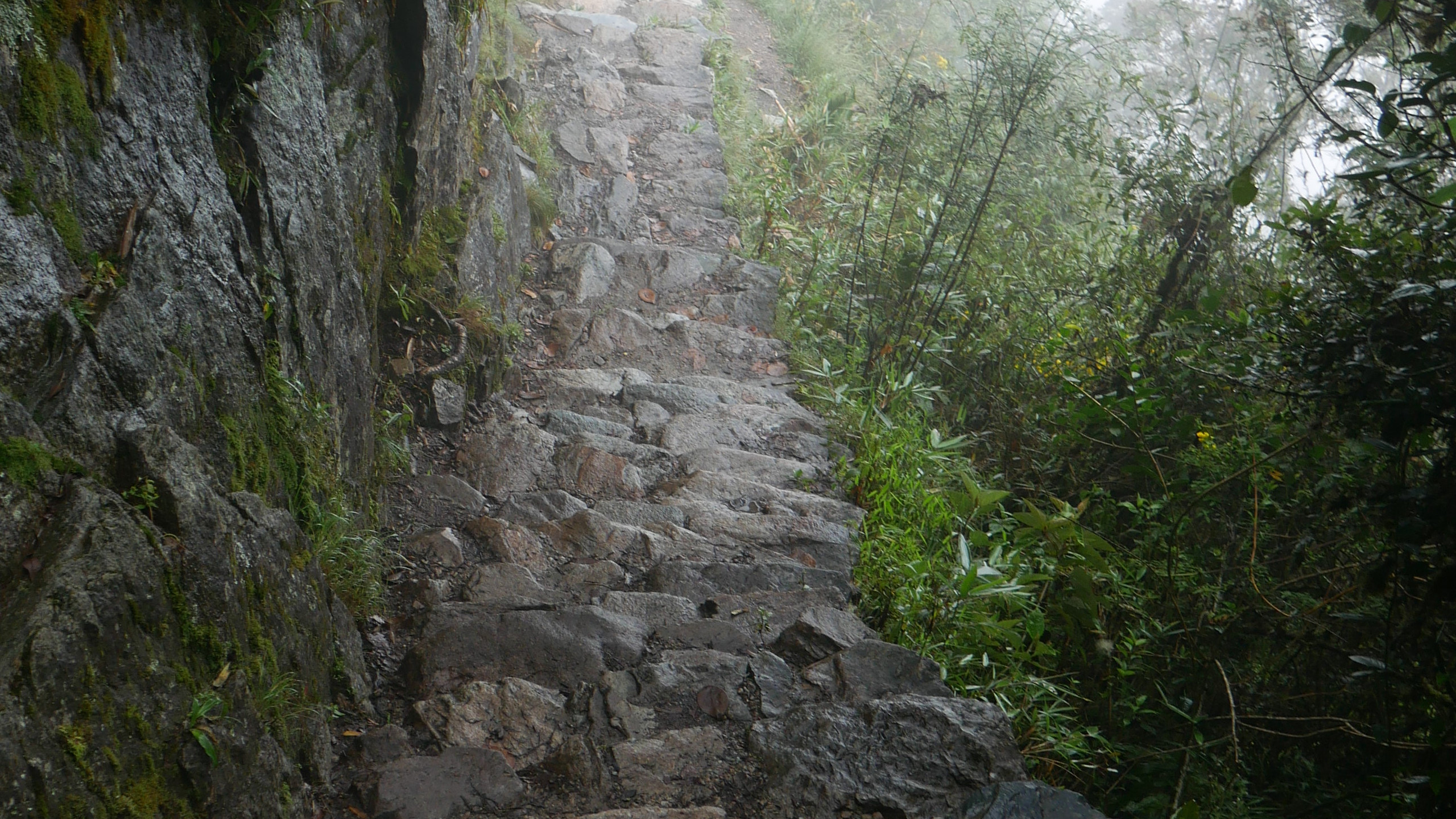 stairs on the mountain trail in Machu Picchu