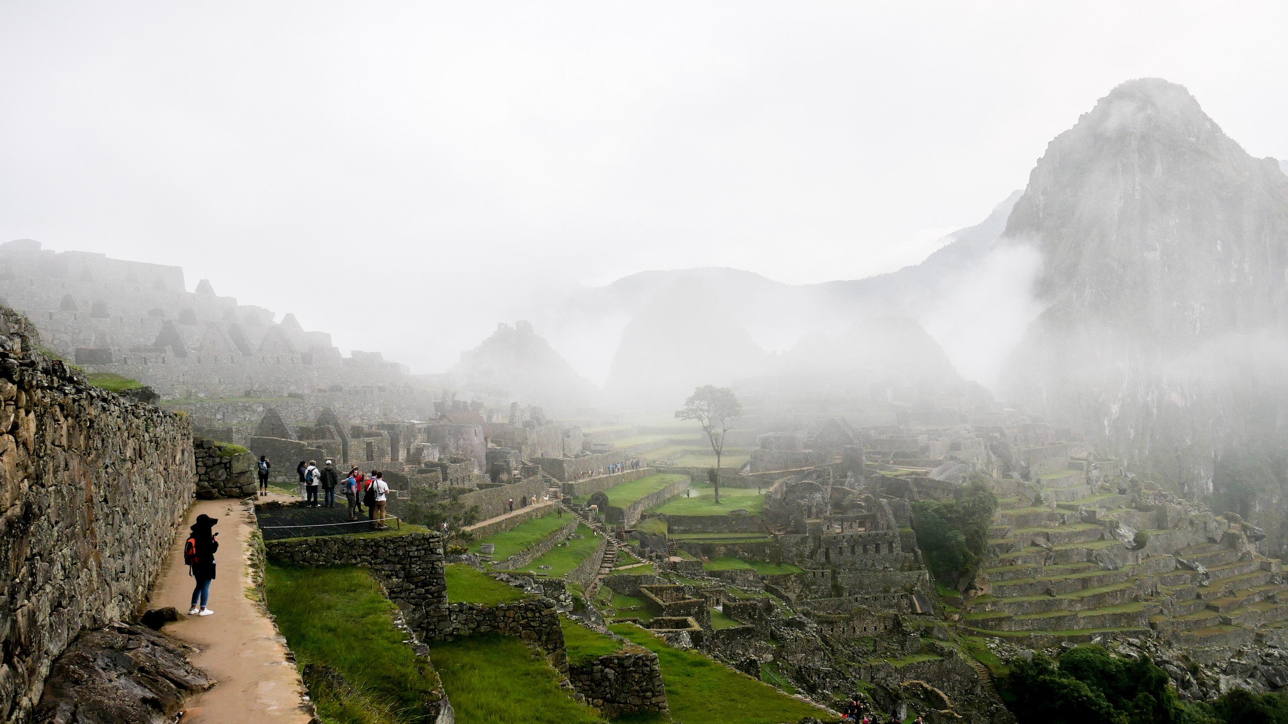 view of the Machu Picchu from the exit of the city