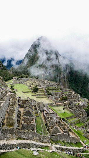 stunning view of Machu Picchu in the morning on a rainny day