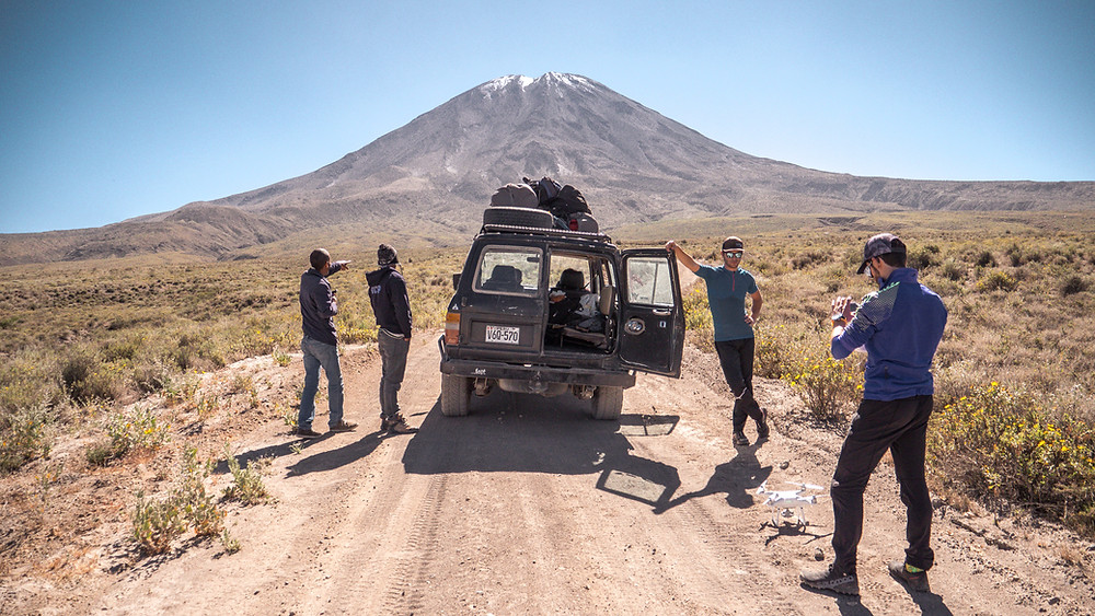 Start of the expedition on Misti Volcan, hiking day under the Peruvian sun. Hiking trip near Arequipa city. Discovering stunning peruvian landscapes