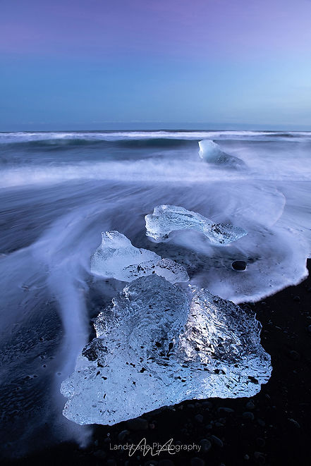 Pieces of ice on Diamond Beach on Iceland