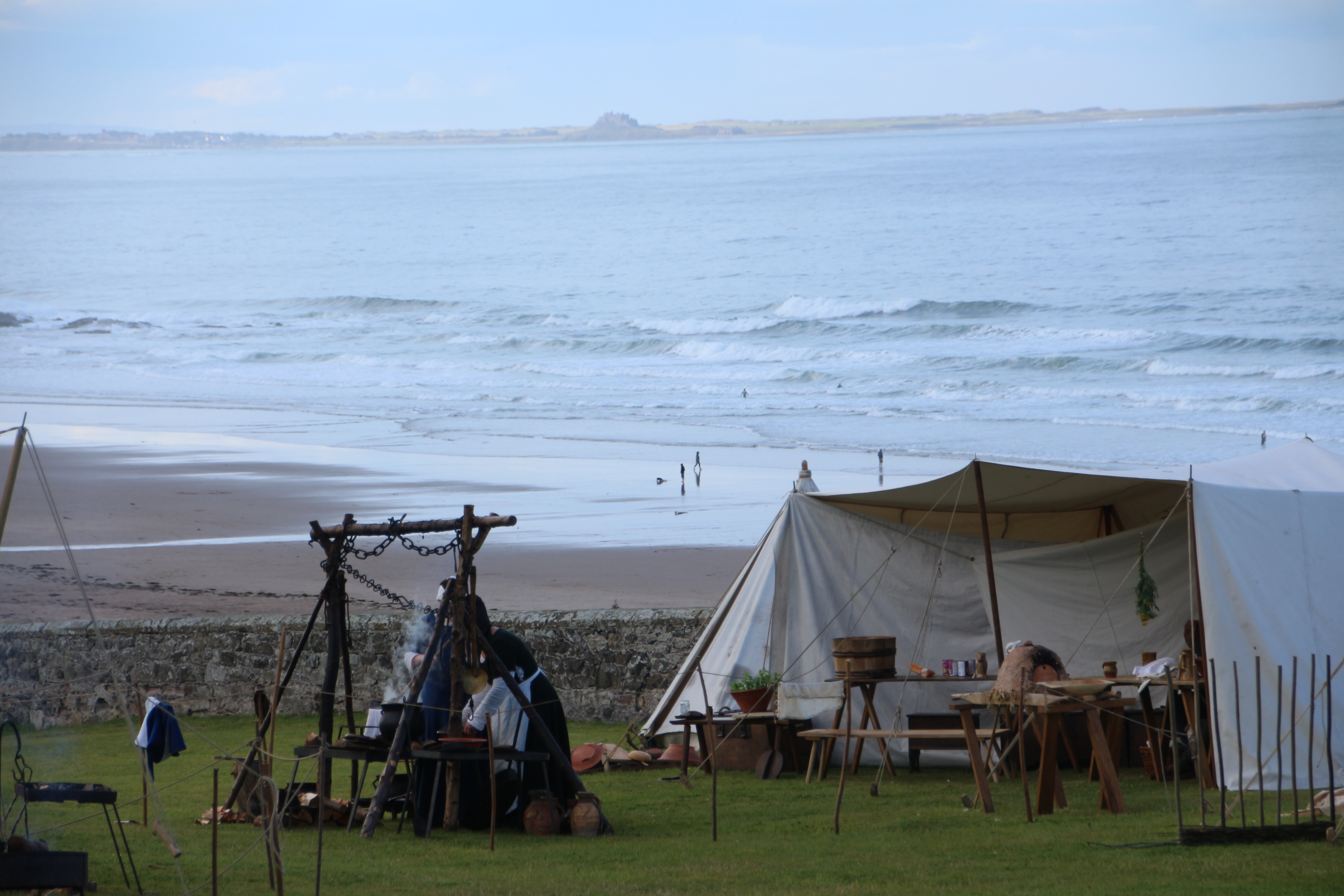 Camp at Bamburgh Castle