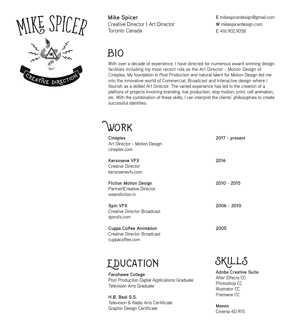 Mike Spicer Creative Direction Resume 20