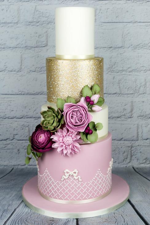 Pink & Gold Wedding Cake WC20216