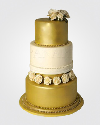 GOLD WEDDING CAKE WC5149