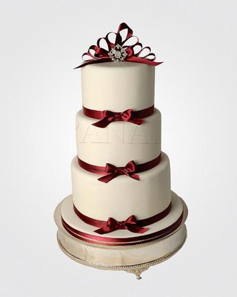 Ivory & Burgundy Wedding Cake WC4455.jpg