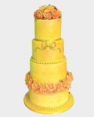 Aurora Peach & Gold Wedding Cake WC384