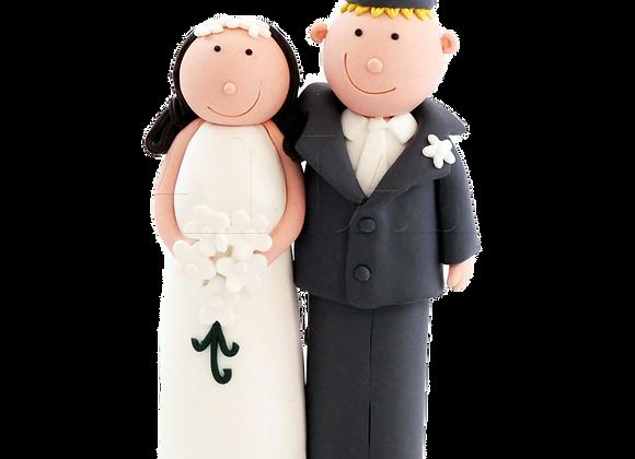 Caucasian Bride Cake Topper