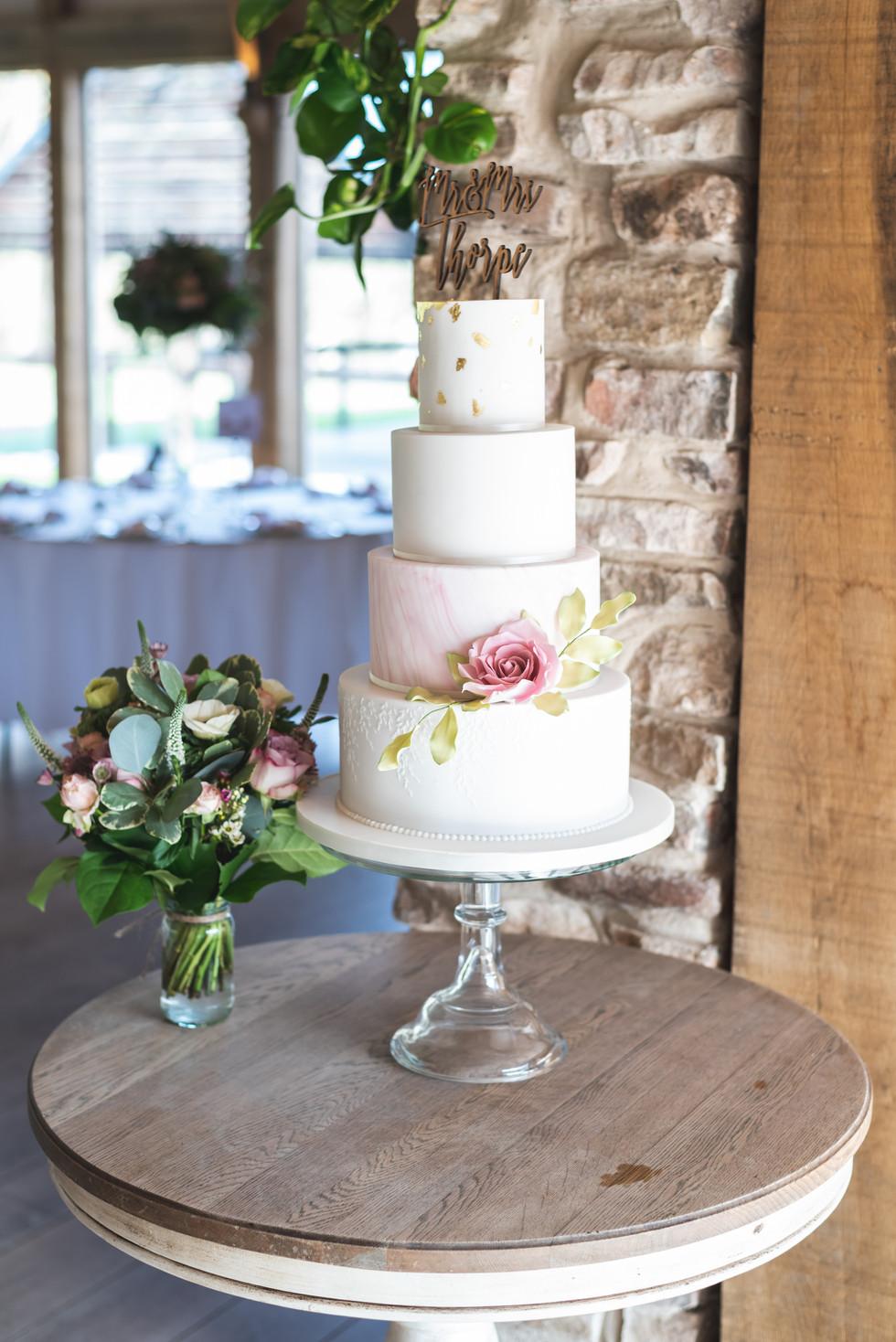 White & Pink Wedding Cake WC20215