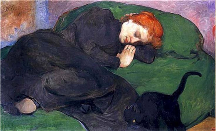 Painting by : Wladyslaw Slewinski, Sleeping Woman with a Cat (ca. 1896)