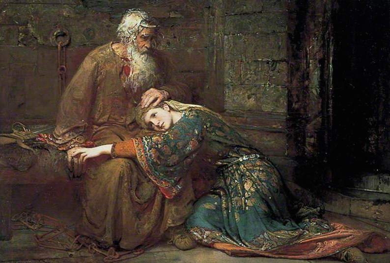 Painting : Cordelia comforting her father King Lear in prison - George William Joy, 1886