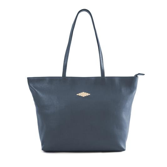 Pampeano Navy Leather Tote Bag