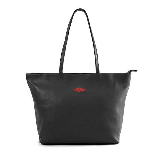 Pampeano Black Leather Tote Bag