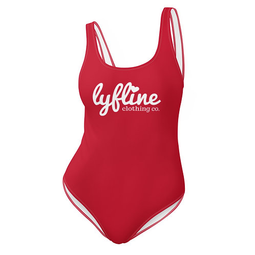 Red LYF Line One-Piece Swimsuit