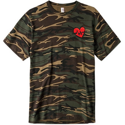 Heart Beat Camouflage Embroided Tee