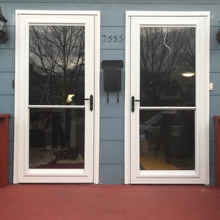 Storm doors installed