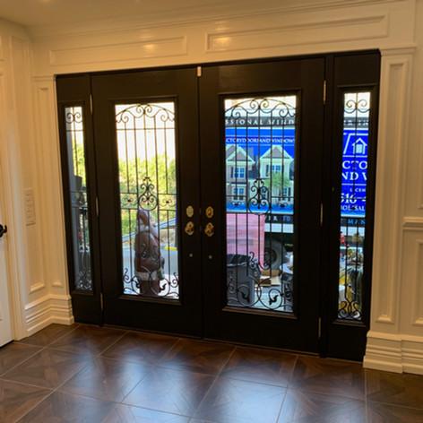Double inswing entry door installed