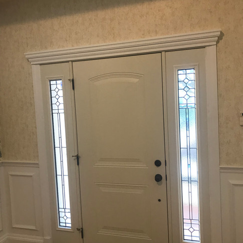 Entry door with sidelites installed