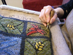 Close-up of Our Lady rug hooking
