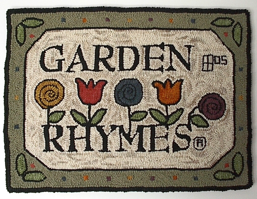 Garden Rhymes® logo rug hooking