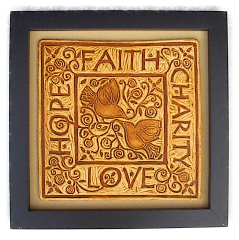 Faith Hope Charity Love art tile