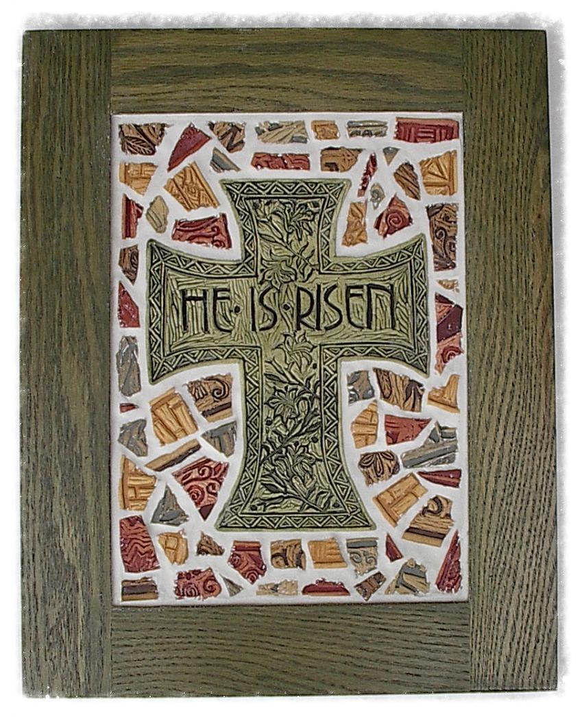 He is Risen Cross mosaic
