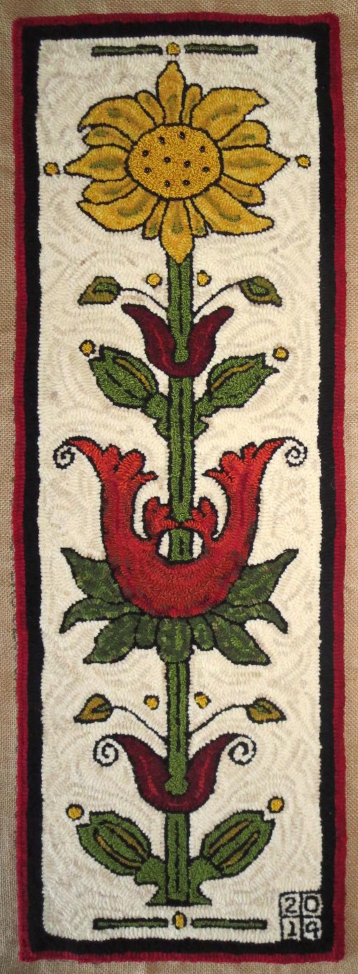 Grandma's Flowers rug hooking