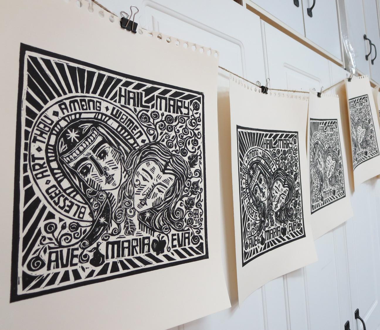 The Second Eve lino-cut print