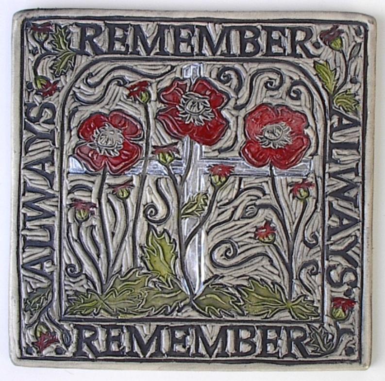 Remember Always Poppies art tile