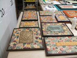 Mosaics being made in the studio.