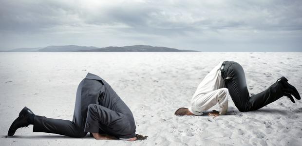 Empregados afundam a cabeca na terra com medo de conflito