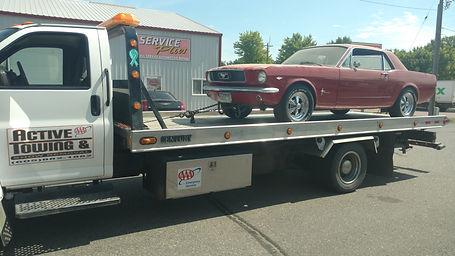Towing a beautiful Mustang