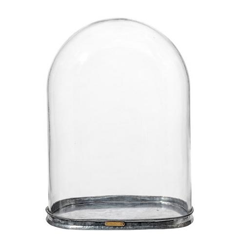 Globe en verre avec base en métal