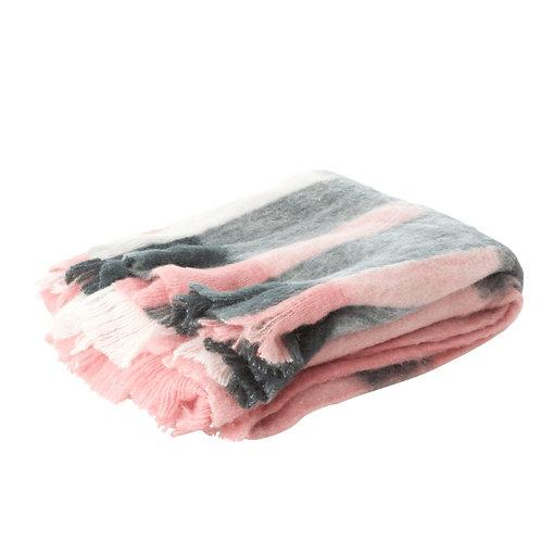 Plaid en laine mélangée Rose/Noir