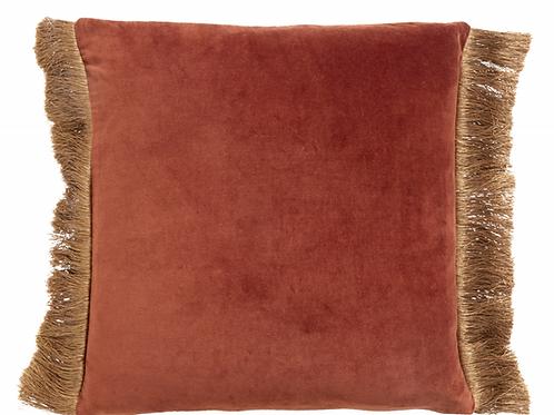 Coussin velours avec franges bicolore - Terracotta