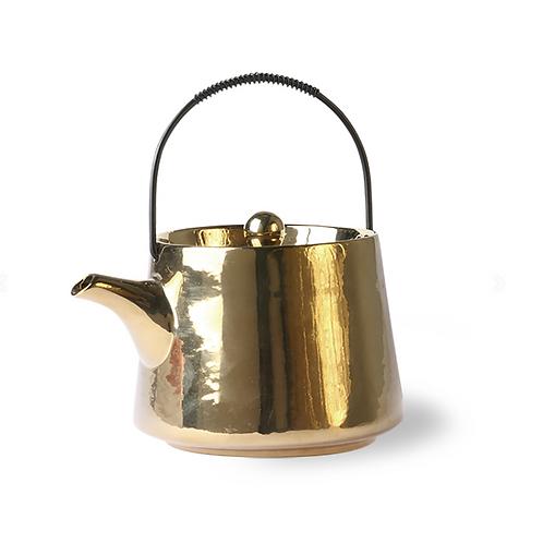 Théière en céramique dorée