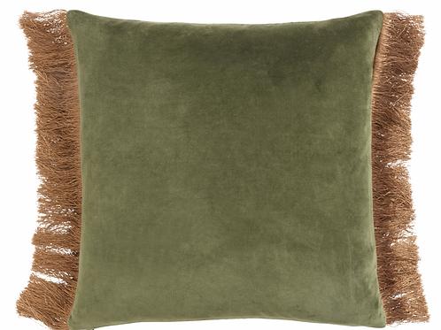 Coussin velours avec franges bicolore - Vert