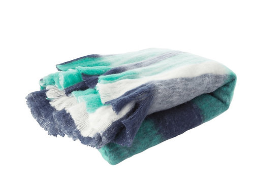 Plaid en laine mélangée Vert/Bleu