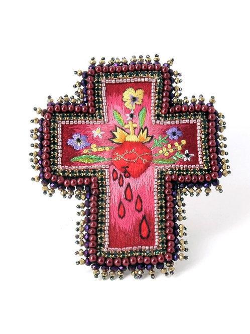 Broche Croix Coeur et Fleurs