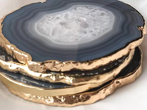 natural crystal agate coasters