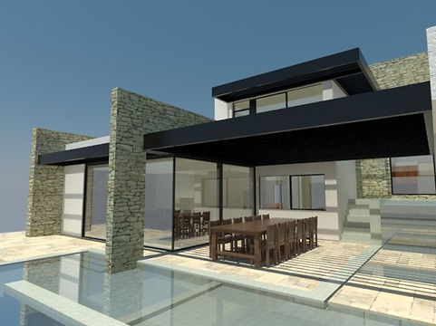 Moderne gezinswoning, gevelpleister, crepi, natuusteen, hout, licht