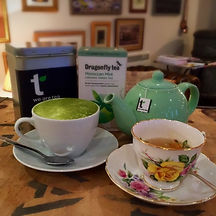 Variety of tea including matcha. Teapot and vintage china.