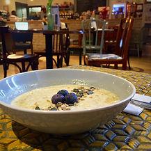 Bowl of porridge oats with blueberries, breakfast