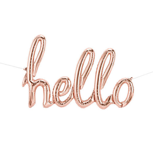 """Hello"" Rose Gold Script Balloon"