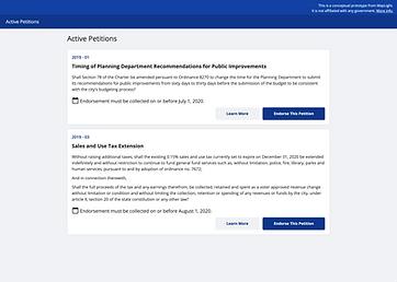 Screenshot of Active Petitions