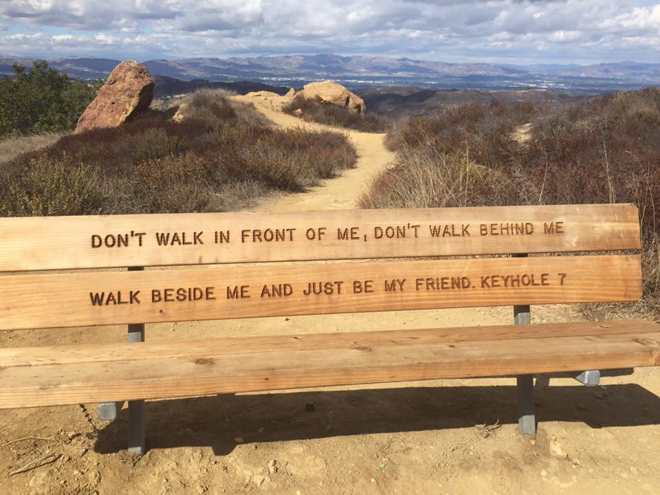 Topanga canyon trail funny bench