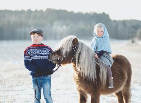 Vinter, barn og dyr!